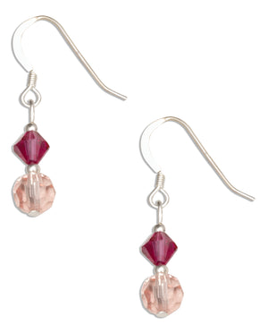 Sterling Silver Pink and Fuchsia Crystal Dangle Earrings