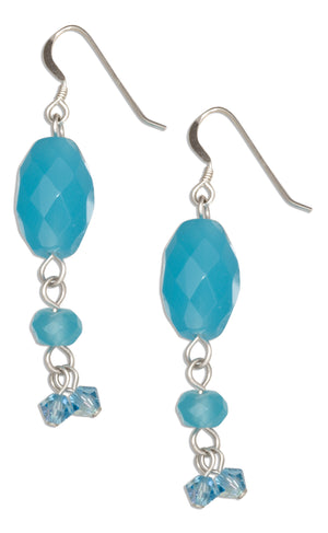 Sterling Silver Faceted Blue Chalcedony Oval Earrings with Blue Crystal Dangles