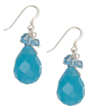 Sterling Silver Faceted Blue Chalcedony Briolette Earrings with Crystal Dangles