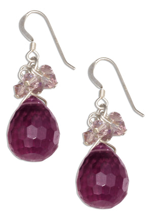 Sterling Silver Faceted Amethyst Briolette Earrings with Crystal Dangles