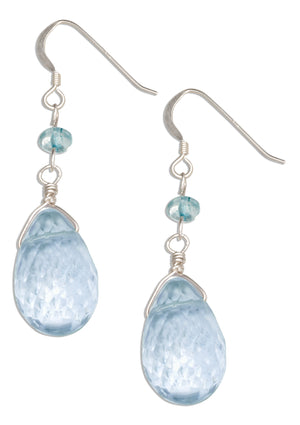 Sterling Silver Faceted Periwinkle Blue Glass Briolette Earrings with Blue Topaz