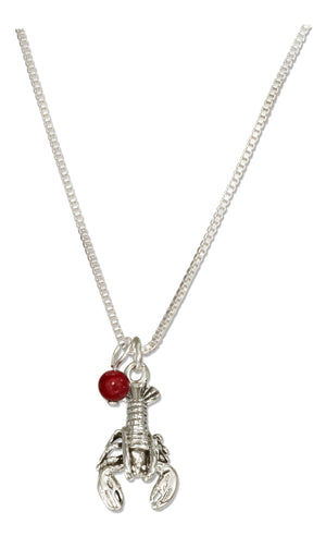 Sterling Silver 18 inch Lobster Necklace with Red Riverstone Bead