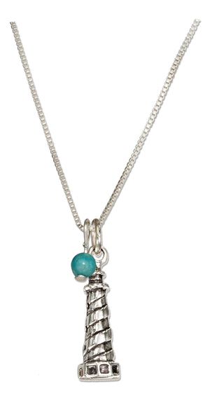 Sterling Silver 18 inch Lighthouse Necklace with Blue Bead