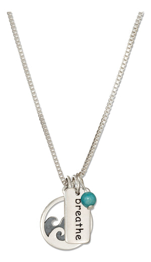 Sterling Silver 18 inch Waves and Breathe Necklace with Blue Bead