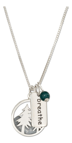 Sterling Silver 18 inch Trees Mountains and Breathe Necklace with Dark Green Bead