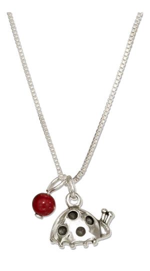 Sterling Silver 18 inch Ladybug Necklace with Red Bead