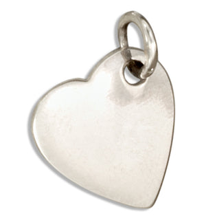 Sterling Silver High Polish Flat Heart Charm