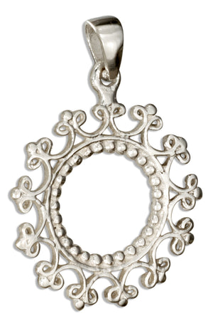 Sterling Silver Round Open Mandala Style Pendant