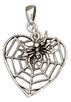 Sterling Silver Heart Shape Spider Web Pendant with Spider Dangle