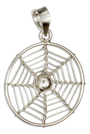 Sterling Silver Round Spider Web Pendant