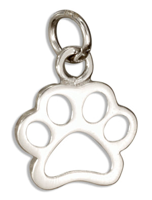 Sterling Silver Outline Paw Print Charm