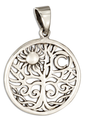 Sterling Silver Round Tree Of Life Pendant with Sun and Moon