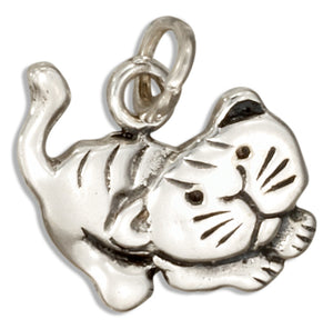 Sterling Silver Playful Kitty Cat Charm