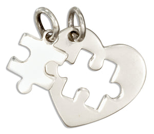 Sterling Silver Two Piece Heart with Cutout and Puzzle Piece Autism Charm Set