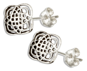 Sterling Silver Mini Four Point Celtic Knot Earrings