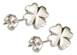 Sterling Silver High Polish 4 Leaf Clover Post Earrings
