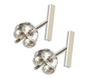 Sterling Silver Mini Simple Round Bar Post Earrings