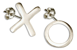 "Sterling Silver Hugs and Kisses ""X"" and ""O"" Post Earrings"