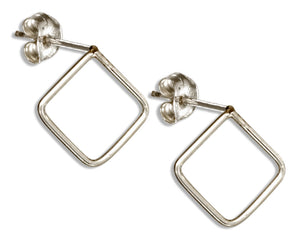 Sterling Silver Open Wire Square Post Earrings