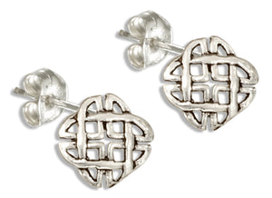Sterling Silver Square Celtic Weave Post Earrings with Rounded Corners