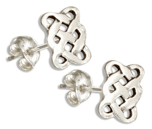 Sterling Silver Rectangular Celtic Weave Knot Post Earrings
