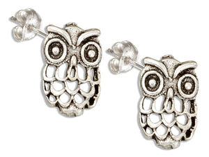 Sterling Silver Antiqued Owl Post Earrings with Open Weave Feathers