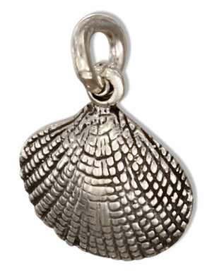 Sterling Silver Scallop Shell Charm with Antiqued Detailing