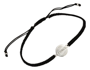 "Sterling Silver ""Peace"" Tag Bracelet on 6 inch to 9 inch Lightweight Macrame Black Cord"
