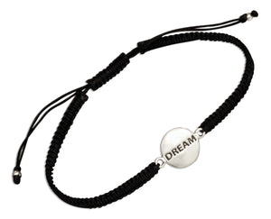 "Sterling Silver ""Dream"" Tag Bracelet on 6 inch to 9 inch Lightweight Macrame Black Cord"