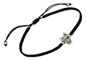 Sterling Silver Owl Tag Bracelet on 6 inch to 9 inch Lightweight Macrame Black Cord