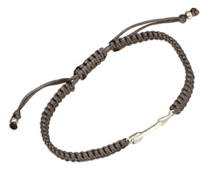 Sterling Silver Arrow Tag Bracelet on 6 inch to 9 inch Medium Weight Macrame Gray Cord