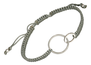 Sterling Silver Double Rings Bracelet on 6 inch to 9 inch Medium Weight Macrame Gray Cord