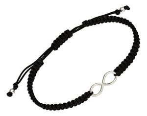 Sterling Silver Infinity Knot Tag Bracelet on 6 to 9 inch Macrame Black Cord