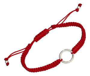 Sterling Silver Simple Circle Tag Bracelet on 6 inch to 9 inch Macrame Red Cord