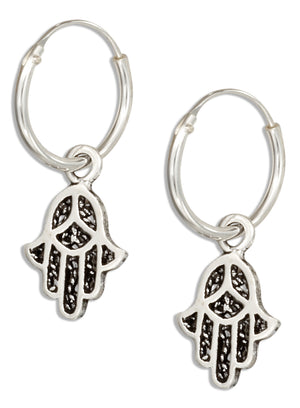 Sterling Silver Wire Hoop Earrings with Hamsa Hand Of God