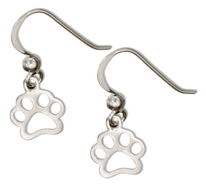 Sterling Silver Outline Paw Print Earrings