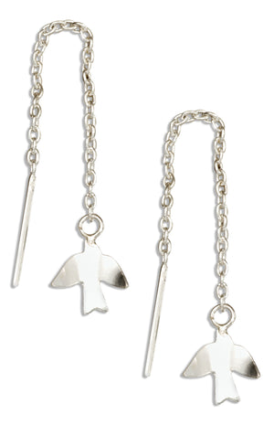 Sterling Silver Bird Dove Ear Thread Earrings