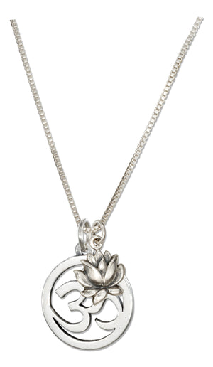 Sterling Silver 18 inch Om or Ohm Symbol Necklace with Lotus Flower