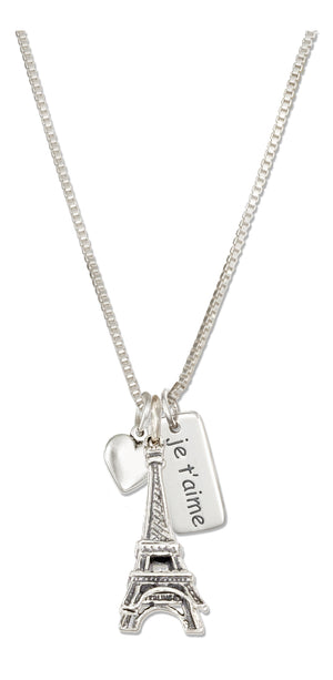 Sterling Silver 18 inch I Love Paris Necklace with Eiffel Tower Heart & Je T'aime Tag