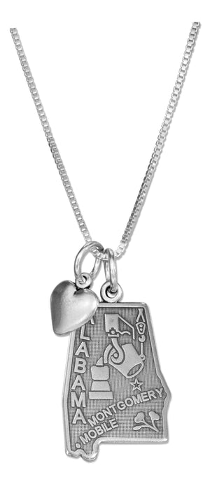 Sterling Silver 18 inch Alabama State Pendant Necklace with Heart Charm
