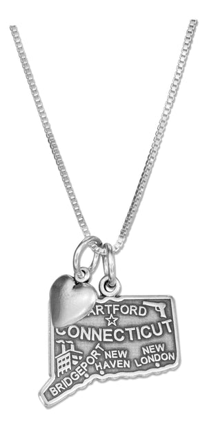 Sterling Silver 18 inch Connecticut State Pendant Necklace with Heart Charm