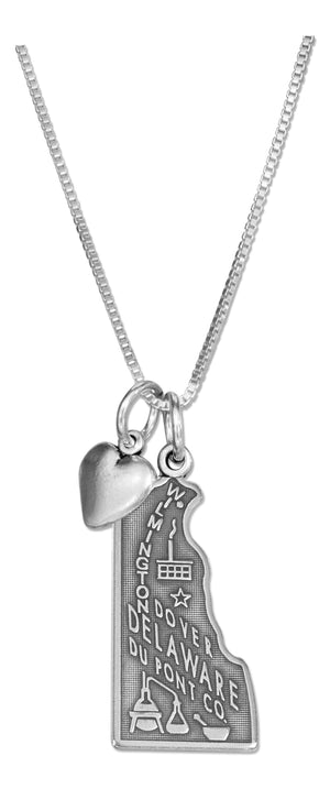 Sterling Silver 18 inch Delaware State Pendant Necklace with Heart Charm