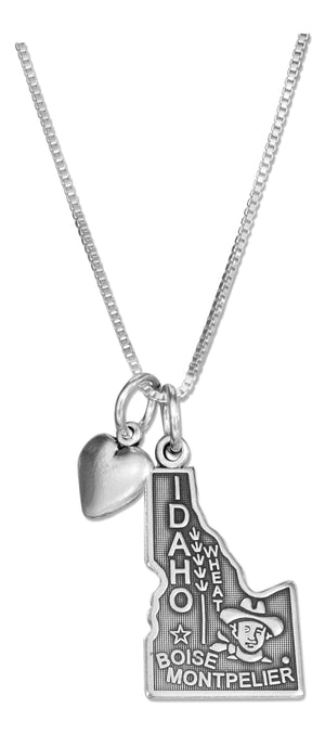 Sterling Silver 18 inch Idaho State Pendant Necklace with Heart Charm