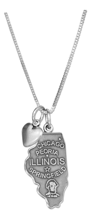 Sterling Silver 18 inch Illinois State Pendant Necklace with Heart Charm