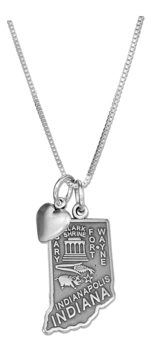 Sterling Silver 18 inch Indiana State Pendant Necklace with Heart Charm