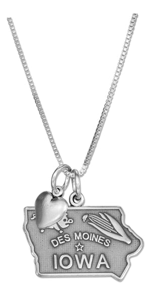 Sterling Silver 18 inch Iowa State Pendant Necklace with Heart Charm