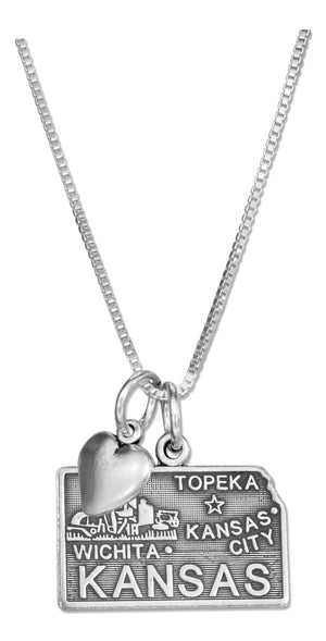 Sterling Silver 18 inch Kansas State Pendant Necklace with Heart Charm