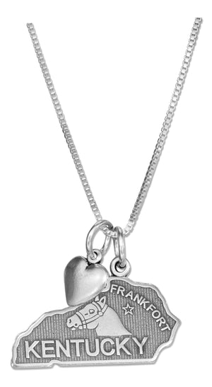 Sterling Silver 18 inch Kentucky State Pendant Necklace with Heart Charm