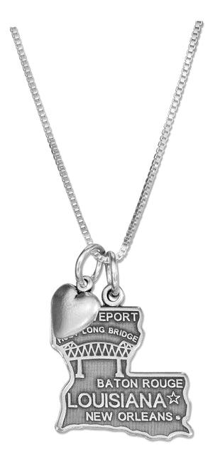 Sterling Silver 18 inch Louisiana State Pendant Necklace with Heart Charm