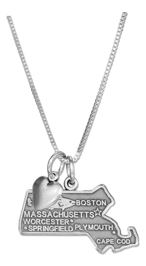 Sterling Silver 18 inch Massachusetts State Pendant Necklace with Heart Charm